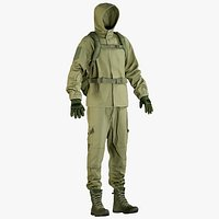 Military Green Uniform With Boots Gloves Backpack 2 cloth sides