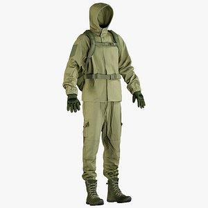 realistic military green uniform 3D