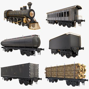 Big Collection Locomotive and Railcars  2 3D model