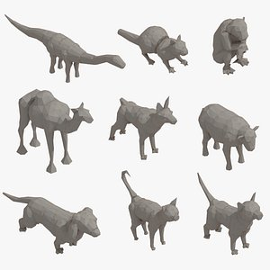 3D Low Poly 3d Art Animals Isometric Icon Pack 10