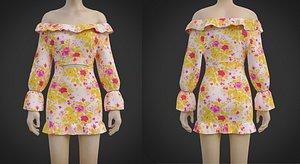 floral OffShoulder Ruffle blouse MiniSkirt Dress- 2 Piece Summer Outfit 3D model