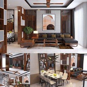 3D model interior living reception 3D