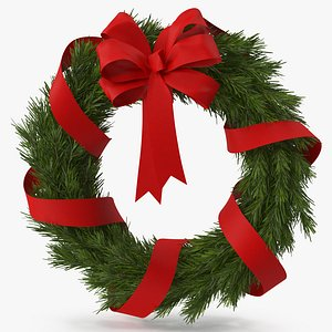 Christmas Wreath with Red Bow and Ribbon model