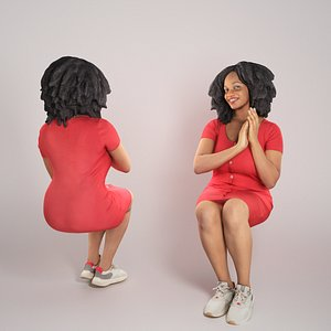 3D Sitting african-american woman in red dress 277 model