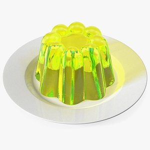 3D model Yellow Vanilla Jelly Pudding on Plate