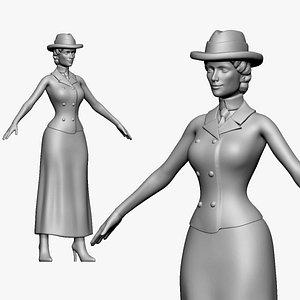 3D 001134 woman in hat very thin waist model