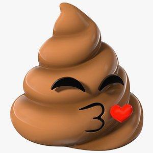 Kissing Face Poop Emoji Smile 3D model