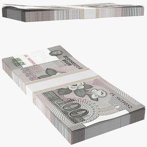 North Korea 100 Won Banknotes Pack 3D model