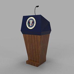 3D usa presidential podium
