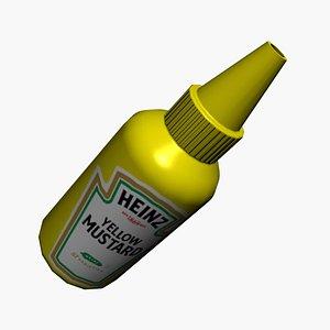 3D mustard food condiments