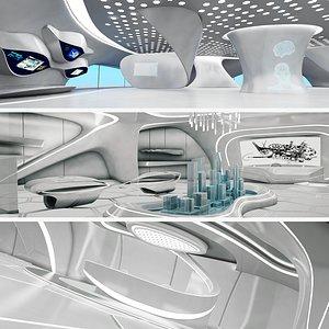 sci-fi futuristic exhibition 3D model