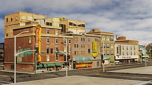 3D town City Scene Low-poly model