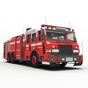 3D Rescue Fire Engine Truck 6x6 Unit model