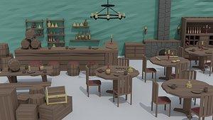 3D Low-poly cartoon medieval tavern interior asset model