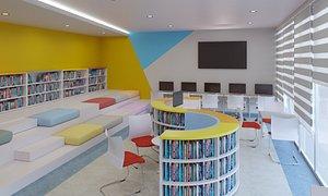 3D school library interior design