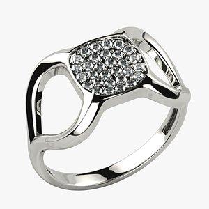 3D model Cushion Bowl Gems Gold Ring