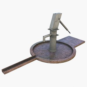 Old Dirty Hand Water Pump - GameReady Lowpoly Asset 3D