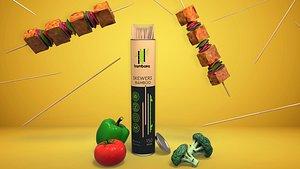 3D bamboo sticks advertisement vegetable