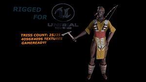 3D Cherokee worrior female model