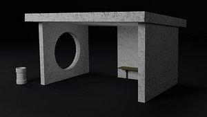 3D model public stop bus