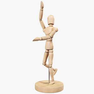 Wooden Dummy Human Posed 3D model