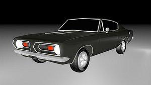 3D Plymouth Baraccuda S 1968 model