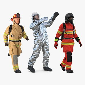 3D Rigged Firefighters Collection 2 for Maya model