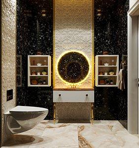 3D WC  Design Black Style