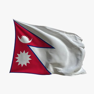 3D model Realistic Animated Flag - Microtexture Rigged - Put your own texture - Def Nepal