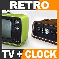 Retro Style Television Set and Radio Alarm Flip Clock