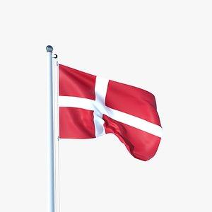Animated Flag of Denmark 3D