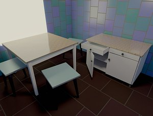 3D Table chair kitchen chest of drawers low-poly