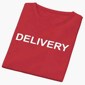 3D Female Crew Neck Folded Red Delivery 02