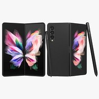 Samsung Galaxy Z Fold 3 Black with S-Pens Animated