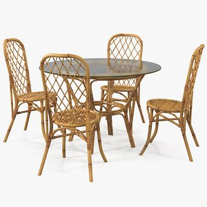 3D dining table glass chairs