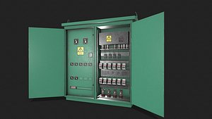 3D Electric Fuse Box Green
