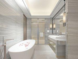Bathroom bathtub toilet shower room dry and wet separation decoration design 3D model