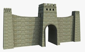 Medieval Castle Wall Towers 3D model