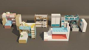 5 item bunk bed design collection 3D