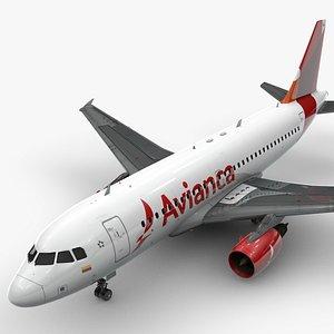 Airbus A319-100 AVIANCA L1374 3D