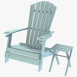 3D Adirondack Chair And Small Table