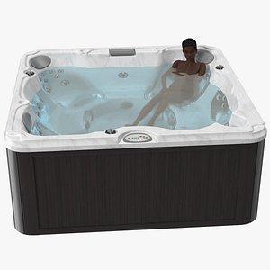 Nude Dark Skin Woman in Large Hot Tub Rigged model