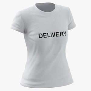 Female Crew Neck Worn White Delivery 03 3D model