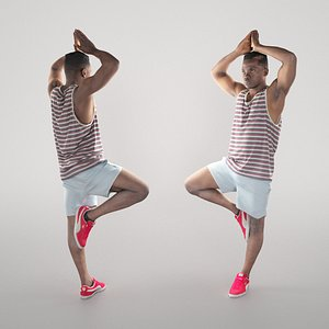 Young man doing yoga routine 326 model