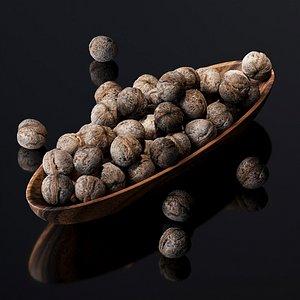 Walnut v2 in a wooden nut bowl 3D model