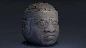 3D olmec statue model