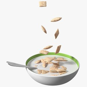 3D Breakfast Cereal Pads Falling in Bowl with Milk