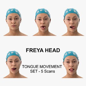 3D model Freya Clean Scans Tongue Movement Set - 5 poses Collection
