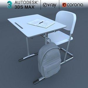 chair desk school model