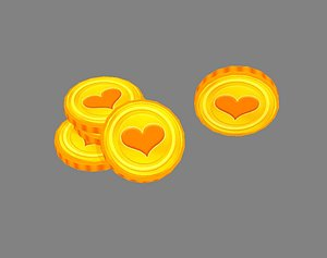 3D Cartoon love gold coin model